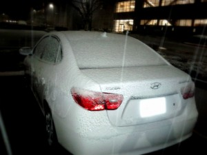 My car was frozen! And you can see the snow shower!