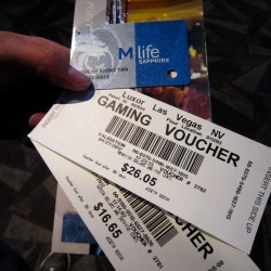 Well, this is what I got from $25 freeplay token, a free dinner for 2 @ Las Vegas