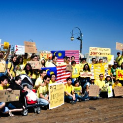 We marched from the park to the nearby Santa Monica Pier
