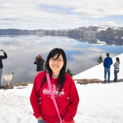 Crater Lake, see the little reflection behind :)